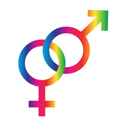 Interlocking rainbow male female symbols vector
