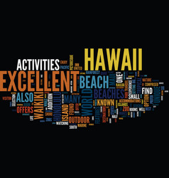 Enjoy excellent beaches in hawaii text background vector