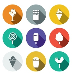 Sweets and ice cream flat icon set vector