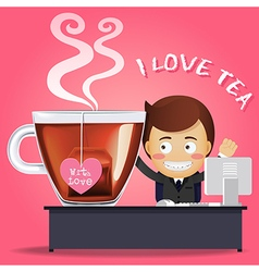 Man working on computer and big tea cup vector image