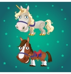 Cartoon image of the horse and the unicorn vector