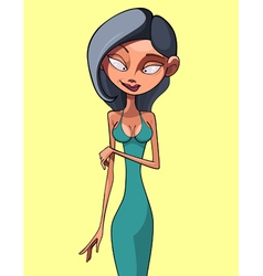 Cartoon brunette woman in a dress vector