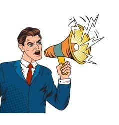 Pop art boss business leader and megaphone vector