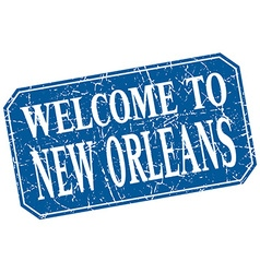 Welcome to new orleans blue square grunge stamp vector