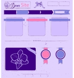 Website template with lilac vintage elements vector