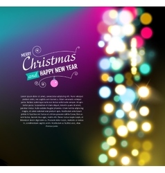 Merry christmas background with bokeh lights vector