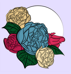 a bouquet of blue pink and beige peonies with vector image