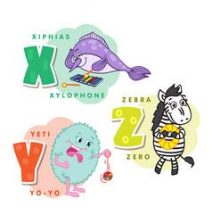 alphabet children colored letter x y z vector image vector image