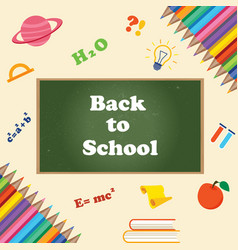 back to school banner with chalkboard vector image vector image