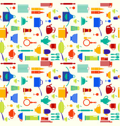 Background with icons of kitchen ware and utensils vector