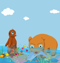 Bears and otter fishing in the sea vector
