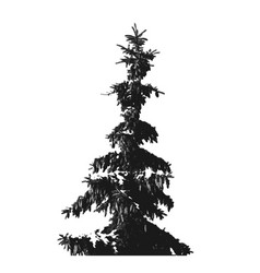 Black fur-tree silhouette isolated on white vector