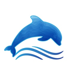Blue dolphin styled with waves vector