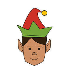 Color image cartoon front view face christmas man vector