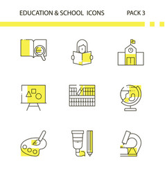 Education and school outline and yellow background vector