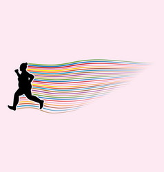Fat woman running graphic vector