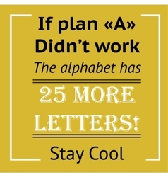 Framed quote on yellow background - plan a vector