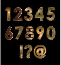 Gold font digits vector