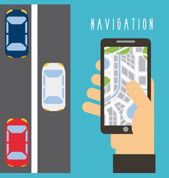hand holding smartphone map navigation traffic vector image vector image