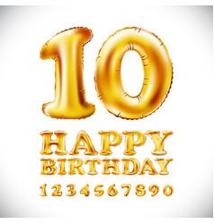 Happy birthday metallic gold balloons english vector