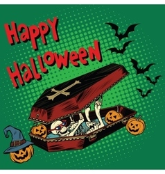 Happy halloween holiday coffin skeleton evil vector