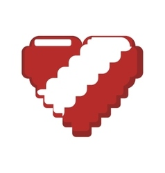 heart pixel video game play icon graphic vector image vector image