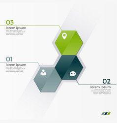 Infographic template with 3 hexagons vector