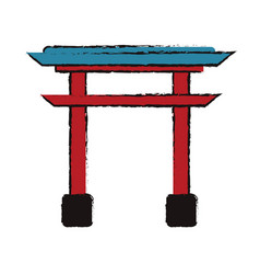 japanese gate structure traditional vector image