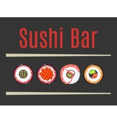 Japanese sushi bar food logo template vector