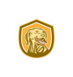 Labrador Dog Head Shield Woodcut vector image vector image
