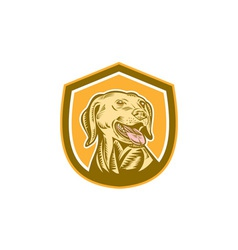 Labrador dog head shield woodcut vector