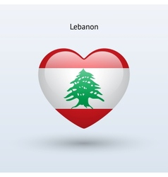 Love lebanon symbol heart flag icon vector