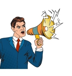 Pop art boss business leader and megaphone vector