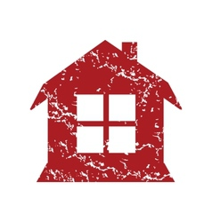 Red grunge house logo vector image vector image