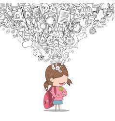 schoolgirl pupils back of school background vector image