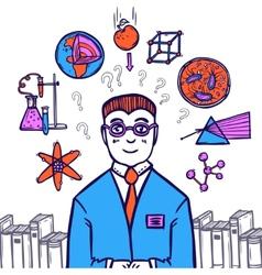 Scientist sketch concept vector