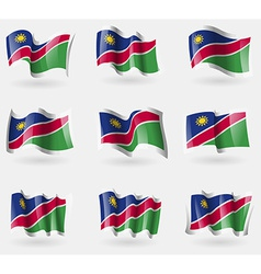 Set of Namibia flags in the air vector image vector image