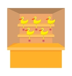 Shooting game with duck target cartoon icon vector image vector image
