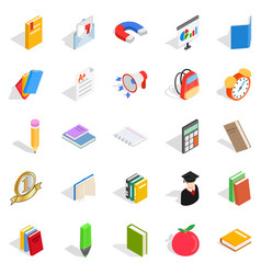 Textbook icons set isometric style vector