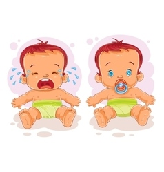 Two baby in diapers vector