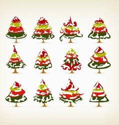 vintage christmas snow on trees set vector image vector image