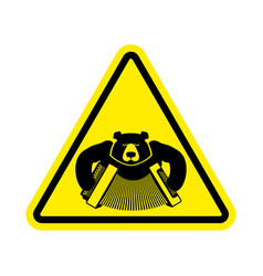 Warning russia bear with accordion with yellow vector