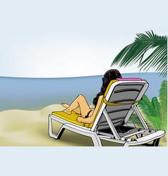 Woman lying on beach lounger vector