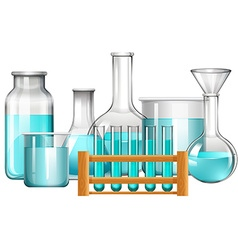 Glass beakers and test tubes with blue liquid vector