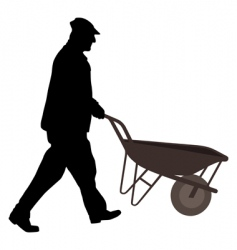 Worker with wheelbarrow vector