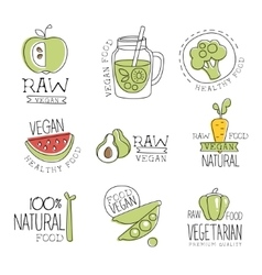 Vegan 100 percent natural products promo labels vector