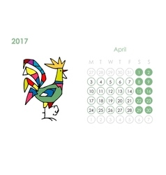 Rooster calendar 2017 for your design april month vector