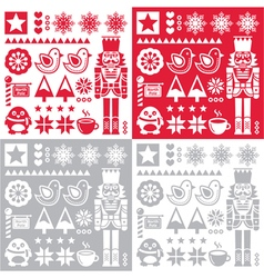 Christmas pattern with nutcracker - set of four de vector