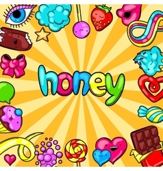 Kawaii background with sweets and candies Crazy vector image