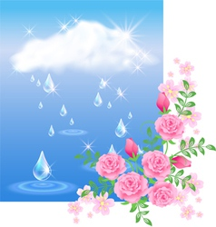 Rain and roses vector